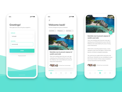 Reef News artilcles minimal waves color reef product design ux ui