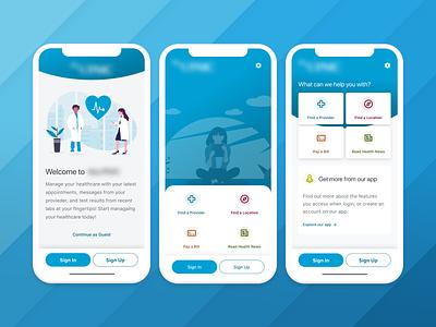 Health Care UnAuth Exploration productdesign uxdesign uidesign mobile health app healthcare product ux uiux ui