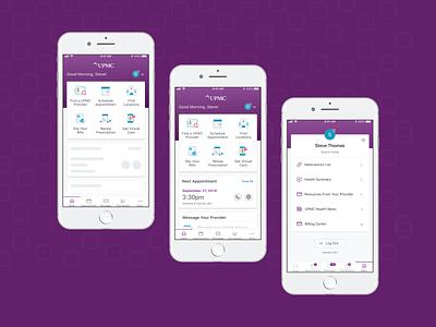 MyUPMC Health Management health care product design product mobile app mobile uxdesign uidesign uiux ui