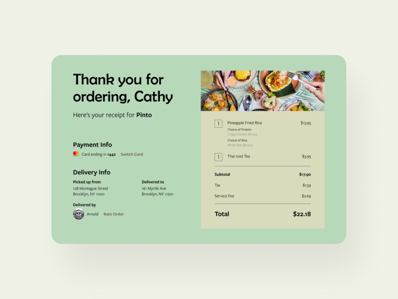 Food Delivery Service Receipt
