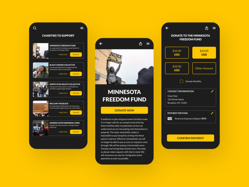 Support protesters in Minnesota crowdfunding black lives matter mobile app mobile ui daily ui challenge dailyuichallenge ui design dailyui daily ui 100daysofui 100 days of ui