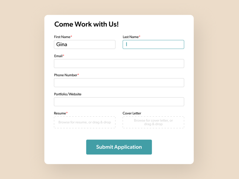 Job Application Form form design job application form field form ui design daily ui challenge 100daysofui dailyuichallenge daily ui dailyui 100 days of ui