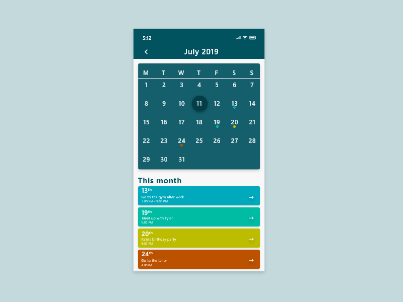 038 - Calendar app ui mobile design mobile ui mobile app design mobile mobile app app front-end front end frontend design ui template ux ui dribble dailyui