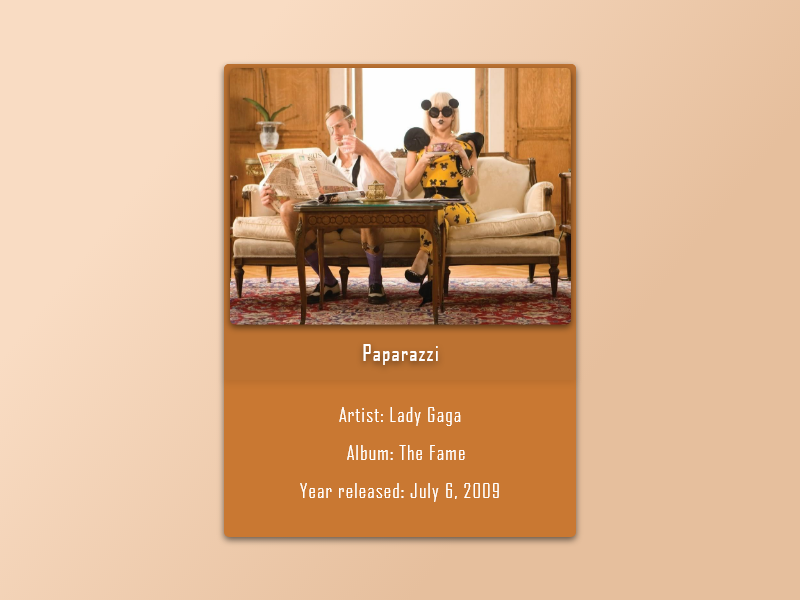 045 - Info Card info card ui cards card paparazzi lady gaga design ui template ui ux dribbble dailyui