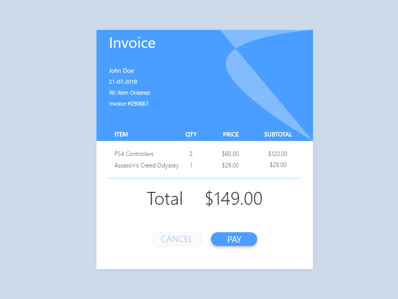 046 - Invoice invoice template invoice dribbble website web front-end front end frontend design ui template ui ux dailyui