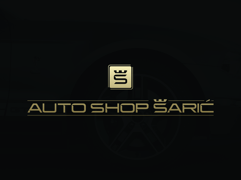 Auto Shop Šarić nemanja fent logo shop brand crown Š simple gold typography luxury auto modern