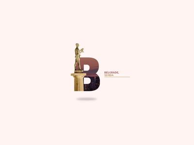 Belgrade city gold logo simple web photography design serbia beograd belgrade b letter