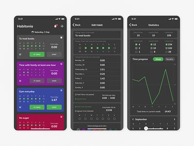 Habitonia- App For Tracking Your Habits habitstracker habit tracker habits habit ios android mobile ux uiux ui interface design dark