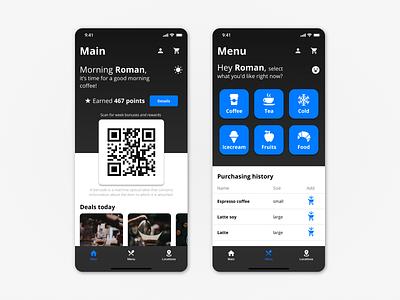 Coffee Shop Menu menubar coffeeshop coffee cup ux uiux ui mobile ios interface design dark android