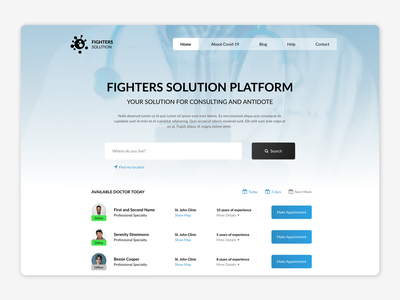 Fighters Solution Platfom medecine doctor doctor app covid android mobile website webpage webdesign web ux uiux ui interface design dark