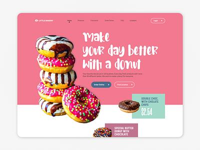Donut Factory Little Bakery landing design landingpage donuts donut web design website webpage webdesign web ux uiux ui interface design