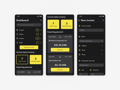 Invoice generator ios paycheck pay invoice mobile android dark ux ui uiux interface design