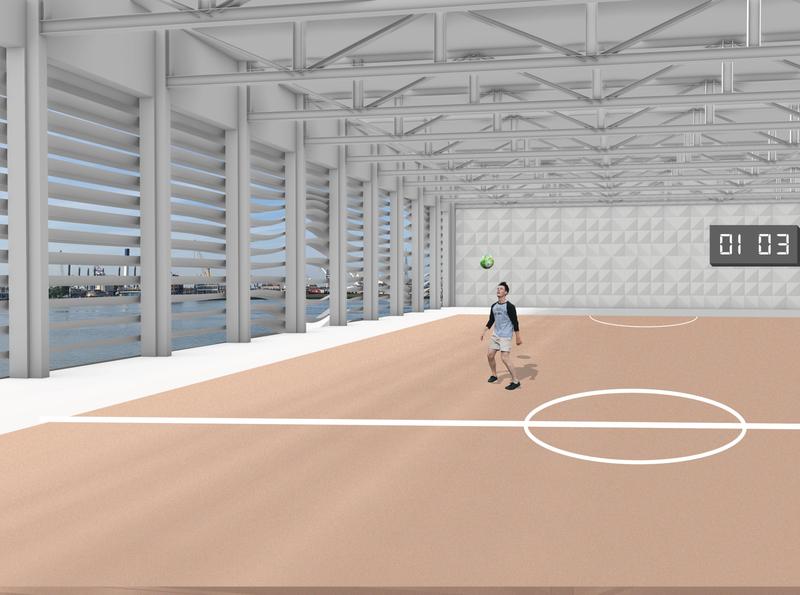 Architectural impression of sports hall design tudelft interior design interior impression render rhino photoshop architecture