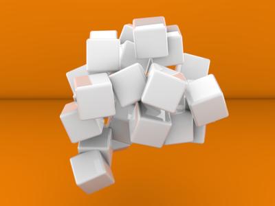 3D Cubes on Orange Background