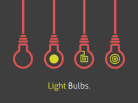 Light Bulbs light bulbs flat red yellow lamps hang cord color black dark illustration