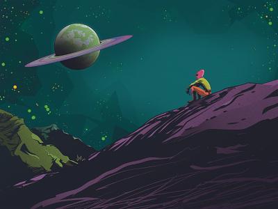 Lost (The Alien) future outerspace mountains digitalart illustration space alien planet sci-fi scifi lost