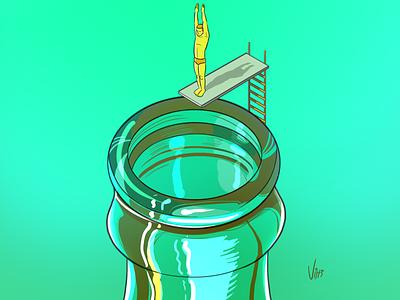 Dive Into Freshness bottle isometric drink advertising beverage digital illustration digital art illustration