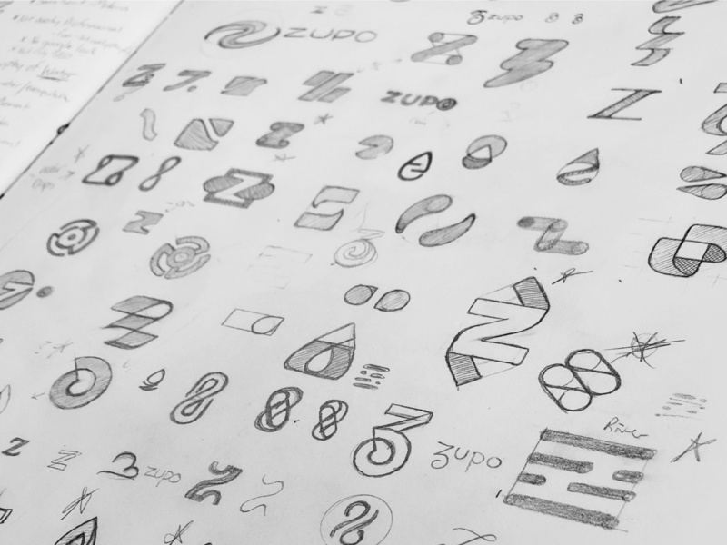 Zupo - Work in progress sketches seo icon design minimal case study typography mark logos logo branding and identity branding