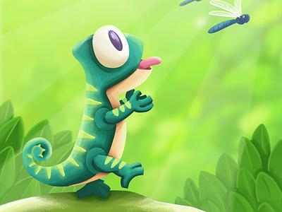 Kid Chameleon animals logo illustrator illustration branding design vector