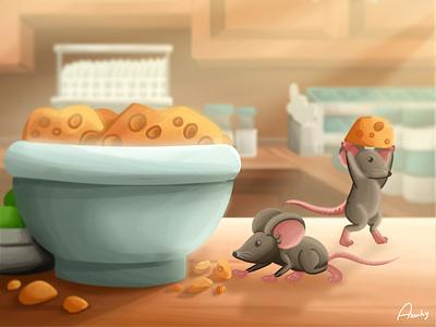 Litttle Mouse digitalpainting photoshop illustrator illustration vector