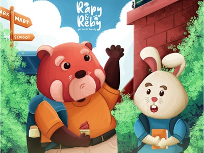 """Rapy and Reby """"Get lost in the city"""" kids illustration painting illustrator illustration vector"""