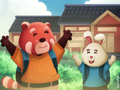 Repy and Reby Find the school painting design illustrator illustration vector