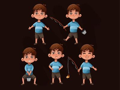 Boy Fishing Character character design character illustrator