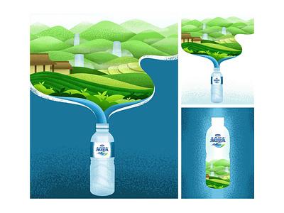 AQUA Nature Illustration advertising brushes flat illustrator minimalism illustration logo branding vector design