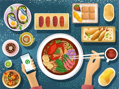Gofood Food Illustration logodesign illustrator logo flat illustration branding vector design