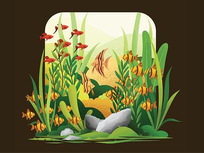 Aquascape Illustration minimalism illustrator flat logo illustration branding vector design