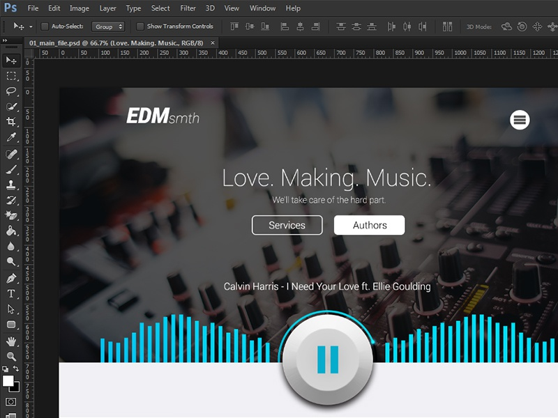 Record Label PSD Template WIP record label music musician industry company startup equalizer play player pause edm