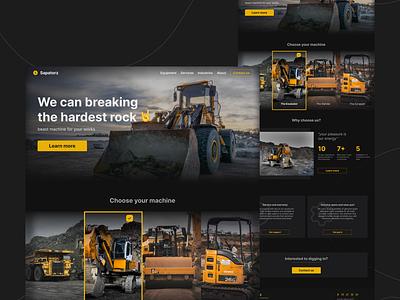 Heavy equipment landing page weblanding homepage exploration uidesign webdesign landingpage