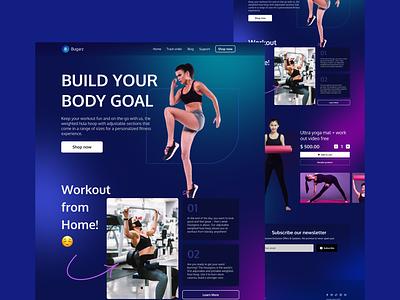 Workout Landing Page fitness workout branding design uidesigner ui design exploration homepage weblanding uidesign webdesign landingpage