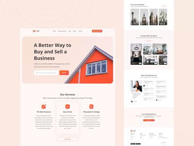 Upflip - Property landing page property motion graphics branding animation design explore uiux exploration weblanding webdesign landingpage uidesign