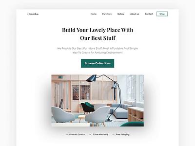 Omahku - Furniture landing page livingroom table chair minimalism minimalist product furniture property explore uiux exploration weblanding webdesign landingpage uidesign branding ui