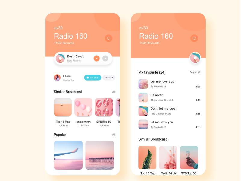 Show a Radio App radio mobile app ui ux design page