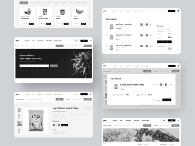 Your new favorite grocery store aesthetic monochromatic online shopping grocery store hi-fi high fidelity wireframes ux ui