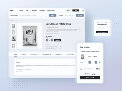 High-fidelity wireframes for a grocery store monochromatic high-fidelity wireframe online shopping ux ui minimalistic grocery store aesthetic