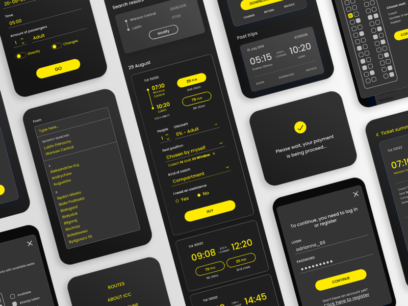 Flat lay contrast train app mobile ui design contrast black and yellow app train transport intercity pkp mobile ui accesibility dark colors minimalistic design visuality ux ui