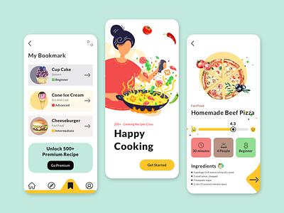 Cooking Recipe App Concept 🌶🧅🍅 creative mobile app mobile mobile app design recipe cooking cook recipe app food app food illustration app design app clean ui clean uxdesign uidesign ux design ux ui design ui