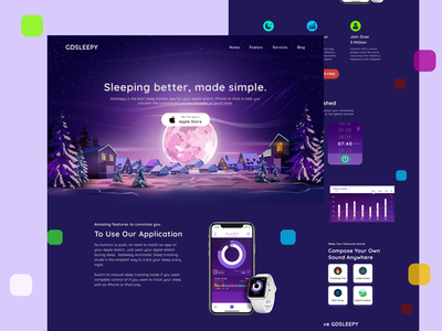 Gdsleepy App Website website illustraion web sleep relax music usability visual art page landing page app clean ui clean uxdesign uidesign ux design ux ui design ui