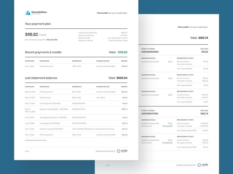 Member statement iteration design bill typography claim billing healthcare user testing layout statement print