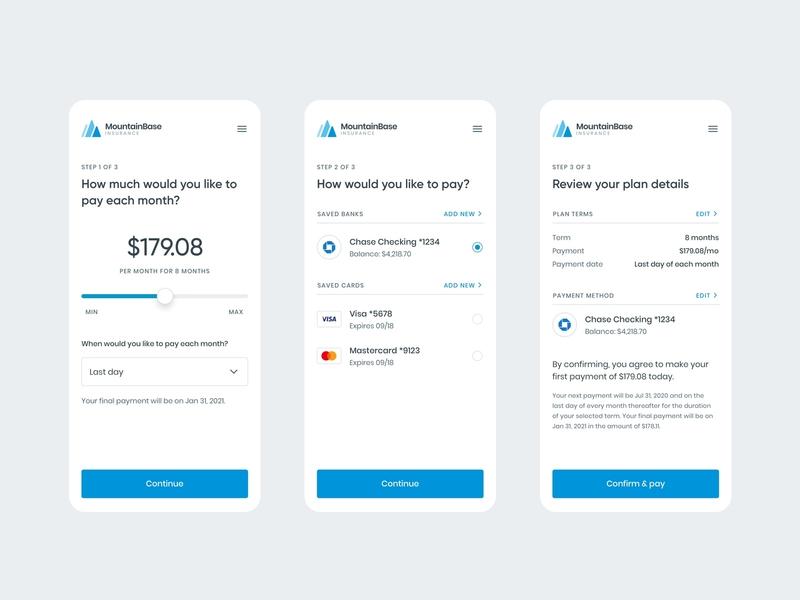 Payment plan setup flow app design healthcare payment card bank payment plan mobile product ui