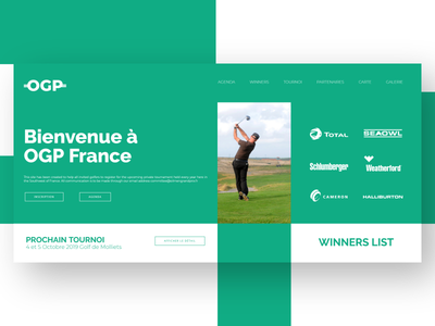 Oilmen Grand Prix flatdesign golf tournament logo homepage design prototyping webdesign ux ui desktop quentin laborde golf