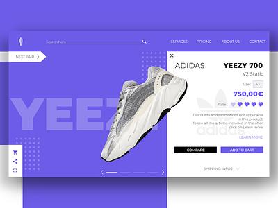 Yeezy 700 Product adidas marketplaces ecommerce product hype yeezy white purple logo flatdesign design prototyping webdesign ux ui desktop