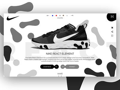 Nike React Showroom black  white grey black webapp sneakers shoes showroom react nike flatdesign prototyping webdesign ux ui desktop