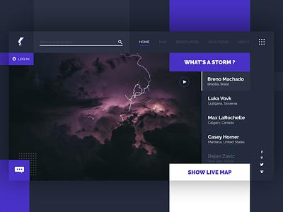 Storm Anticipation uxdesign uidesign cloud dark purple storm logo homepage flatdesign design prototyping webdesign ux ui desktop