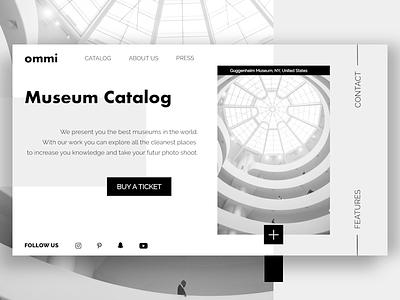 Museum Catalog strip clean simple architecture webconcept website catalog museum homepage design prototyping web ux ui desktop