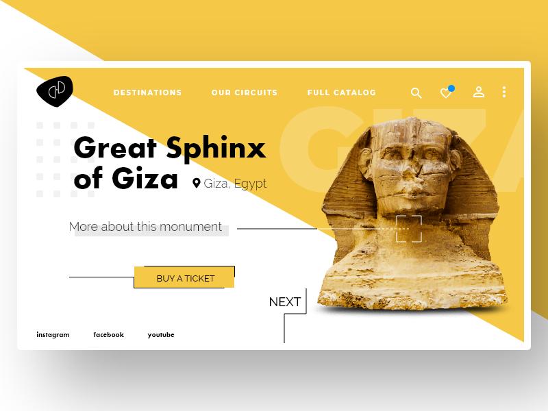 Great Sphinx of Giza ecommerce shop ticketin giza sphinx flatdesign logo webdesign prototyping homepage design ux ui desktop product design