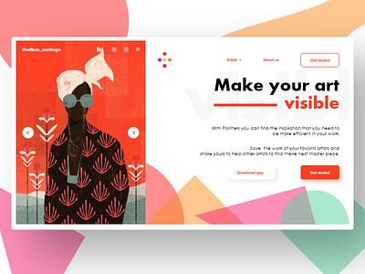 Painters Homepage orange art platform app branding typography illustration logo flatdesign homepage webdesign prototyping design ux ui desktop